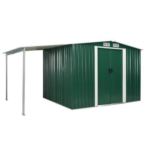 vidaXL Gerätehaus mit Schiebetüren Grün 386×205×178 cm Stahl