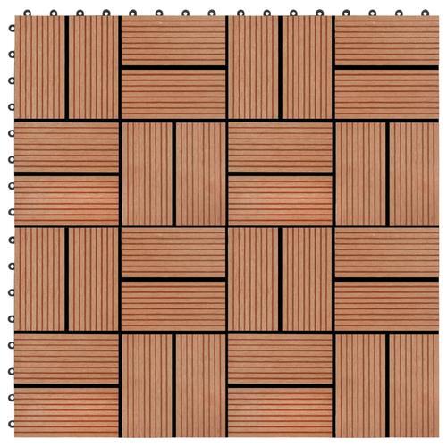 vidaXL 22 Stk. Terrassenfliesen 30 x 30 cm 2 qm WPC Teakholzfarbe
