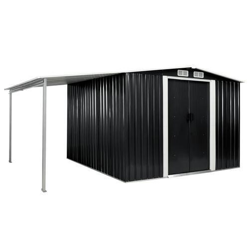 vidaXL Gerätehaus mit Schiebetüren Anthrazit 386×259×178 cm Stahl