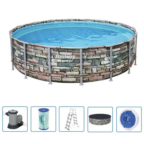 Bestway Power Steel Swimmingpool-Set Rund 488 x 122 cm