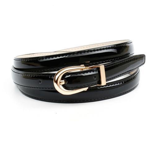 Anthoni Crown Ledergürtel, Schmaler Lackledergürtel, ovale Schließe schwarz Damen Ledergürtel Gürtel Accessoires