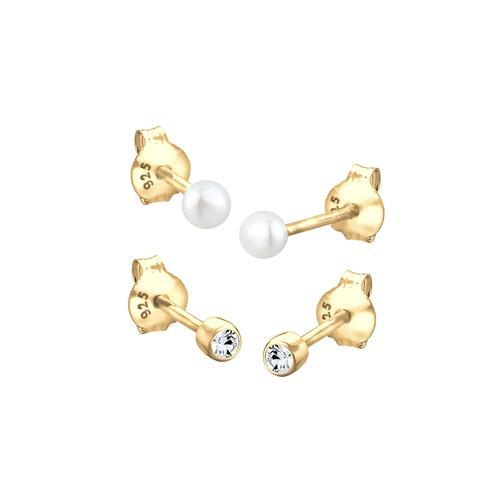 Elli Elli Ohrringe Set Basic Perle Kristalle 925 Silber Ohrringe Damen