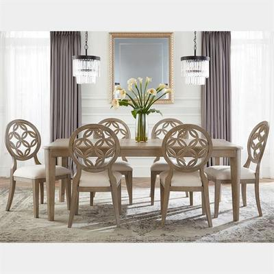 Hollace Rectangle Dining Table and Chairs Taupe Sand Set of Seven, Set of Seven, Taupe Sand