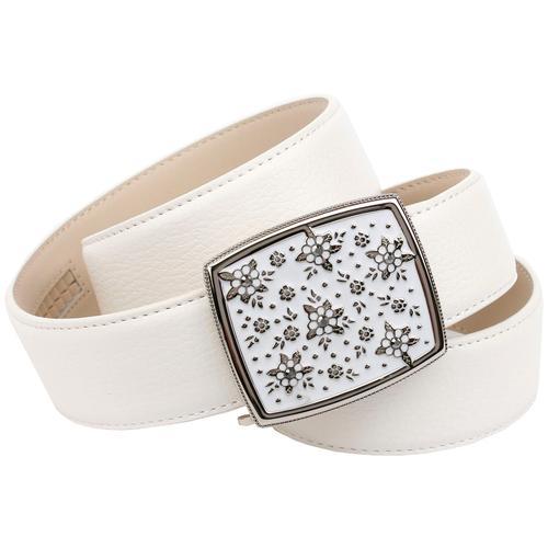 Anthoni Crown Ledergürtel, mit Handmade Glasur-Schließe weiß Damen Ledergürtel Gürtel Accessoires