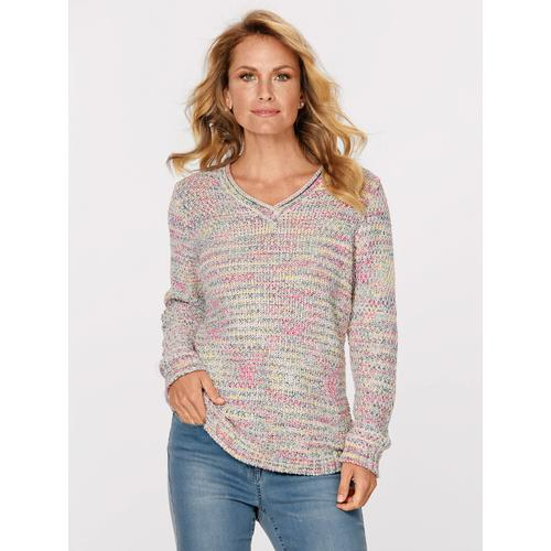 Mona Pullover in Reiskorn-Struktur bunt Damen V-Pullover