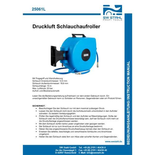 Sw Stahl Automatik Druckluft-trommel Schlauch Aufroller 15m Schlauchtrommel Art-nr.: 25061l