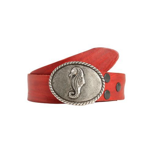 RETTUNGSRING by showroom 019° Ledergürtel Masterlux, mit austauschbarer Seepferdchen-Schließe rot Damen Gürtel Accessoires