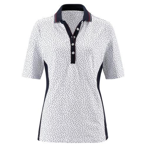 Avena Damen Polo-Shirt Weiß gemustert
