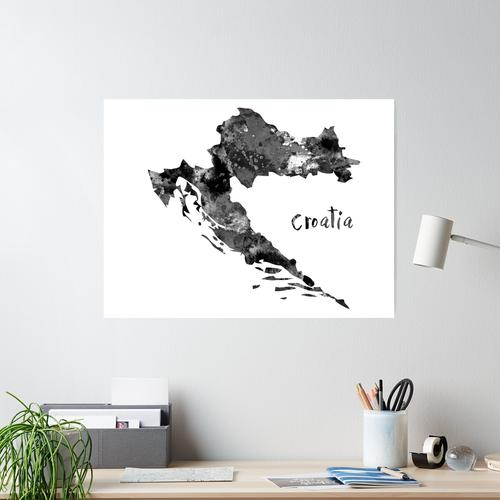 Kroatien Karte, Kroatien Poster