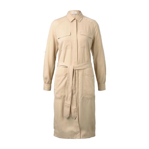 TOM TAILOR Damen Kleid mit Bindegürtel, beige, Gr.46