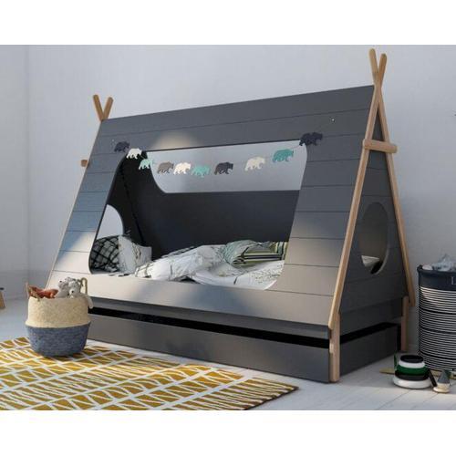 BLN Kids TIPI Kinderbett grau 90x200 cm / ohne Bettkasten