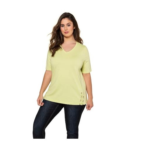 Große Größen T-Shirt Damen (Größe 58 60, zitronengras) | Ulla Popken T-Shirts | Baumwolle, V-Ausschnitt