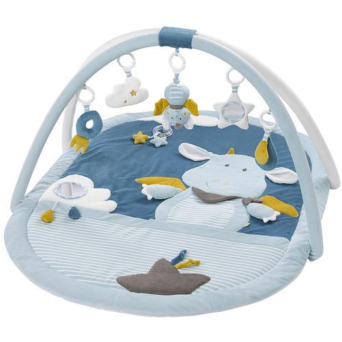 Fehn Spielbogen Little Castle 3-D-Activity-Decke, mit Krabbeldecke blau Kinder Activity Center Trapeze Baby Kleinkind