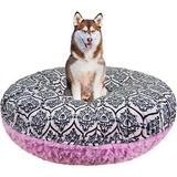 Bessie + Barnie Signature Extra Plush Faux Fur Fun Print Bagel Dog & Cat Bed, Cotton Candy/Versailles Pink, Small