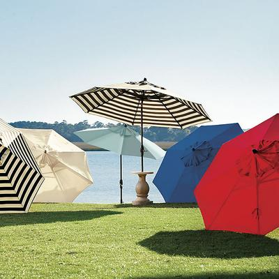 Auto Tilt Patio Umbrella Canopy Stripe Azure/White Sunbrella - Ballard Designs