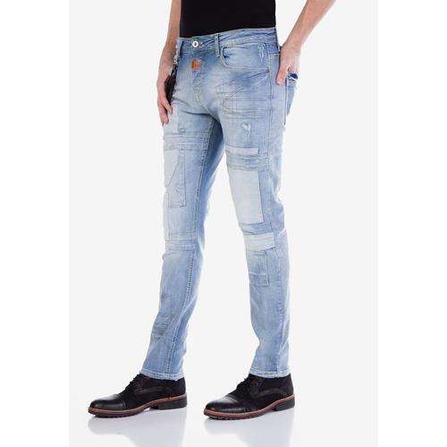 Cipo & Baxx Slim-fit-Jeans, mit Aufnäher blau Herren Slim Fit Jeans Slim-fit-Jeans