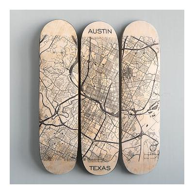 Custom Engraved 3 Deck Skateboard Map