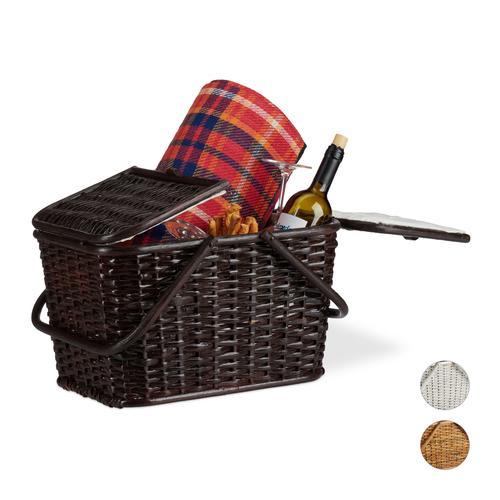 Relaxdays Picknickkorb mit Deckel