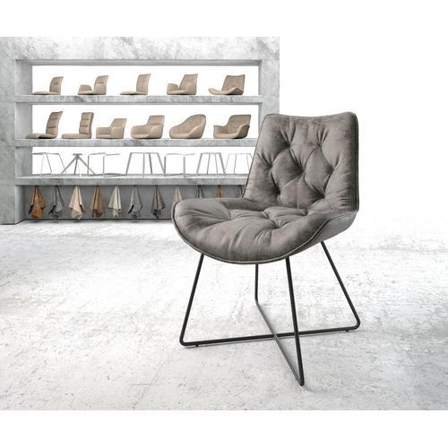 DELIFE Esszimmerstuhl Taimi-Flex Grau Vintage X-Gestell Schwarz, Esszimmerstühle