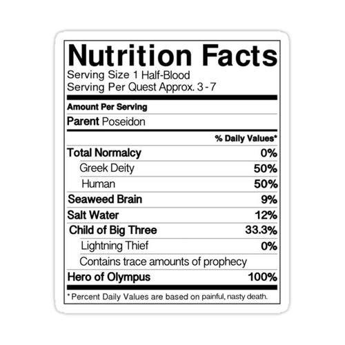 Half-Blood Nutrition Guide (Percy) Sticker
