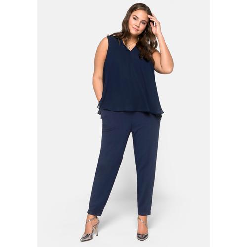 Sheego Jumpsuit, im Lagenlook blau Damen Overalls H-Typ Figurtyp-Beratung Jumpsuit