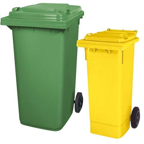 BRB Set mit 1x DIN Mülltonne 80 Liter gelb und 1x DIN Mülltonne 240 Liter grün