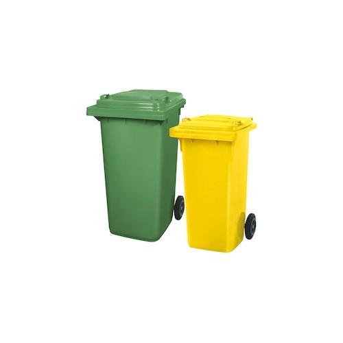 BRB Set mit 1x DIN Mülltonne 120 Liter gelb und 1x DIN Mülltonne 240 Liter grün
