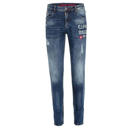 Cipo & Baxx Bequeme Jeans, mit Aufnäher in Slim Fit blau Herren Loose Jeans