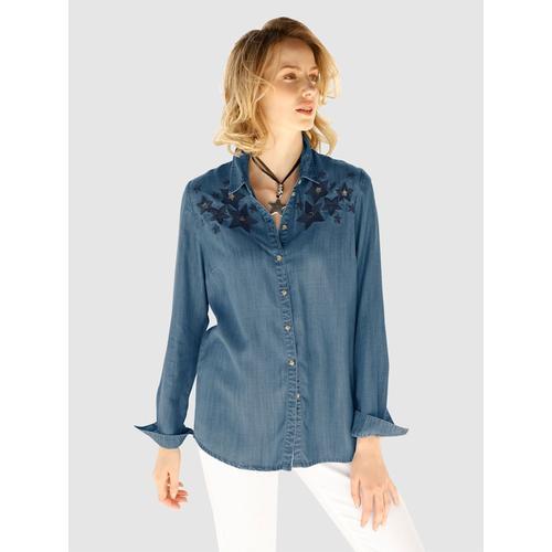 AMY VERMONT, Bluse mit Sternen-Stickerei, blau