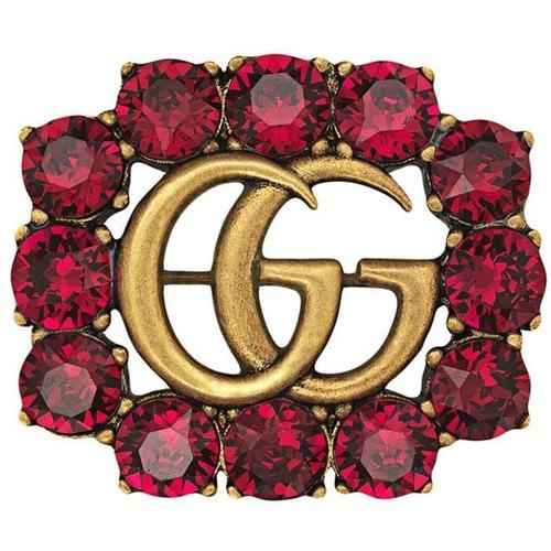 Gucci Brosche mit Doppel G und Kristallen