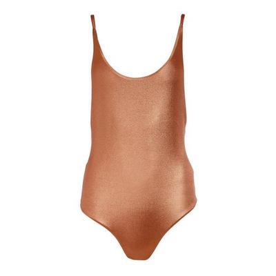Boston Proper - Metallic One-Piece Swimsuit - Rose Gold - X Small