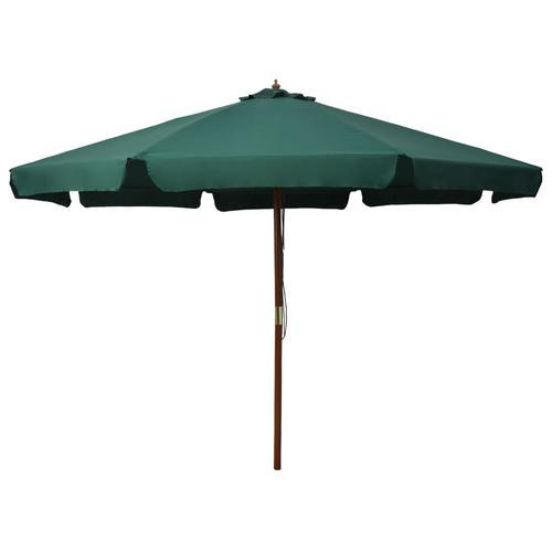 vidaXL Sonnenschirm mit Holzmast 330 cm Grün