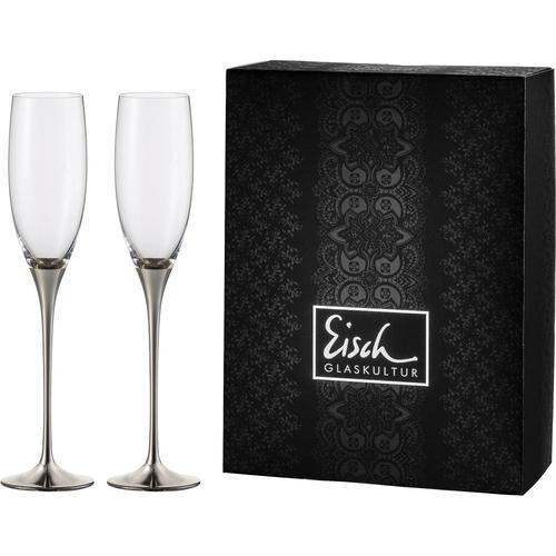 Eisch Sektglas Champagner Exklusiv, (Set, 2 tlg.), Auflage in Platin, 180 ml grau Kristallgläser Gläser Glaswaren Haushaltswaren