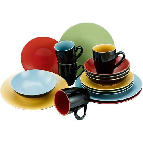 CreaTable Kombiservice Very Funny, (Set, 16 tlg.), 4 Farben im Set bunt Geschirr-Sets Geschirr, Porzellan Tischaccessoires Haushaltswaren