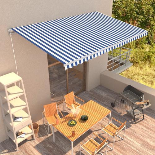 vidaXL Einziehbare Markise Handbetrieben 500 x 300 cm Blau und Weiß