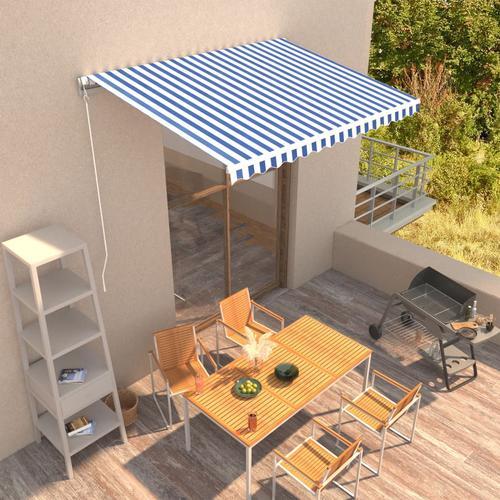 vidaXL Einziehbare Markise Handbetrieben 350 x 250 cm Blau und Weiß