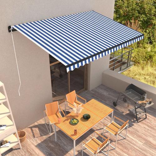 vidaXL Einziehbare Markise Handbetrieben 450 x 300 cm Blau und Weiß