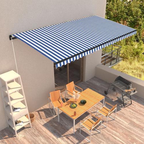 vidaXL Einziehbare Markise Handbetrieben 600 x 300 cm Blau und Weiß
