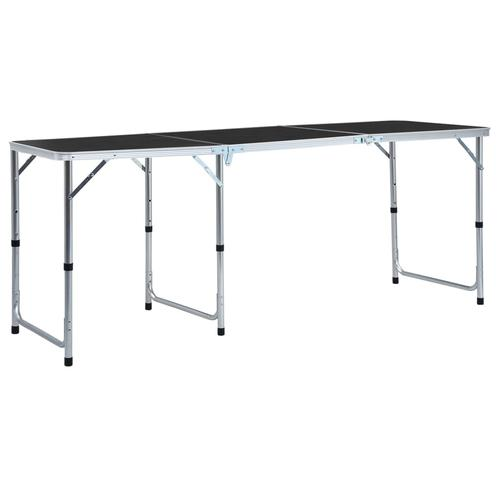 vidaXL Klappbarer Campingtisch Grau Aluminium 180 x 60 cm