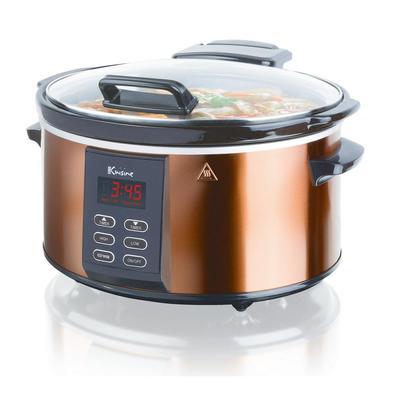 Euro Cuisine 6 Qt. Copper Electric Digital Slow Cooker, Brown