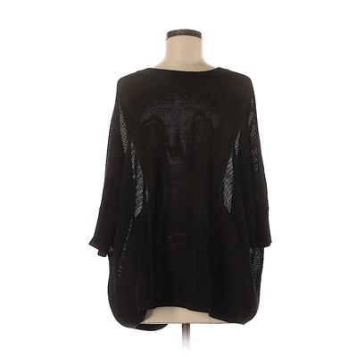 DKNY Pullover Sweater: Black Print Tops - Size P