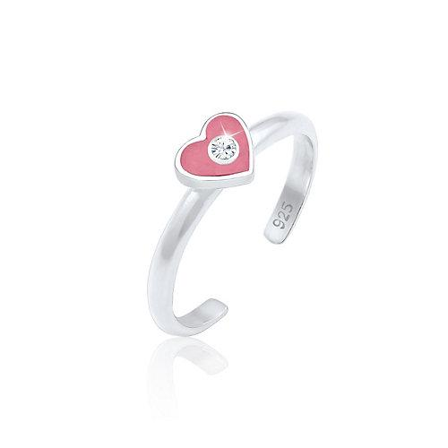 Elli Ring Kinder Herz Enamel Kristall 925 Silber Ringe silber Mädchen Kinder