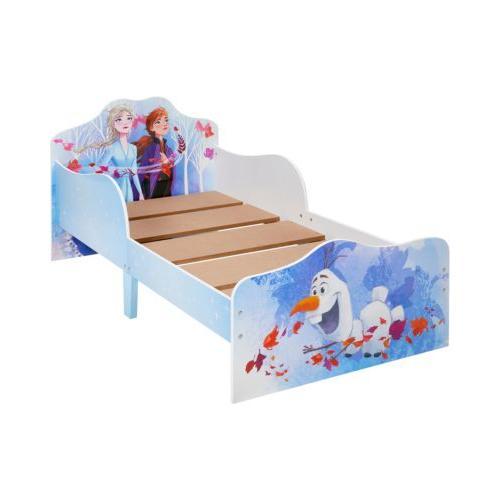 Kinderbett mit 2 Ablageboxen mit Reißverschluss, Disney Frozen 2 Kinderbett, 70 x 140 cm blau
