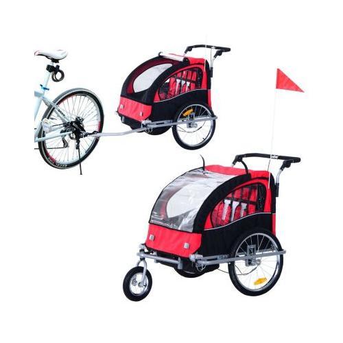 Kinderanhänger 2 in 1 – Fahrradanhänger und Jogger schwarz/rot