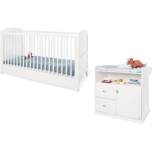 Sparset LAURA (Kinderbett & Wickelkommode), Weiß weiß
