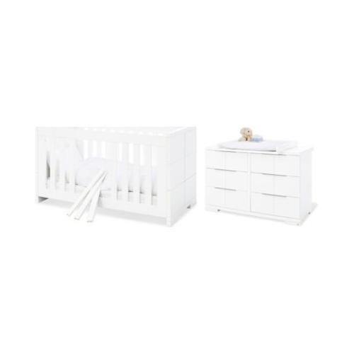 Sparset Polar, extrabreit, 2-tlg. (Kinderbett 70 x 140 cm und extrabreite Wickelkommode), weiß lackiert