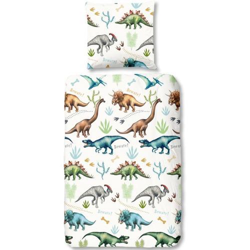 Wende-Kinderbettwäsche Dino, Baumwolle, 135 x 200 + 80 x 80 cm
