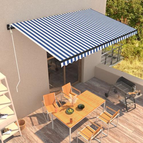 vidaXL Automatisch Einziehbare Markise 500×300 cm Blau und Weiß