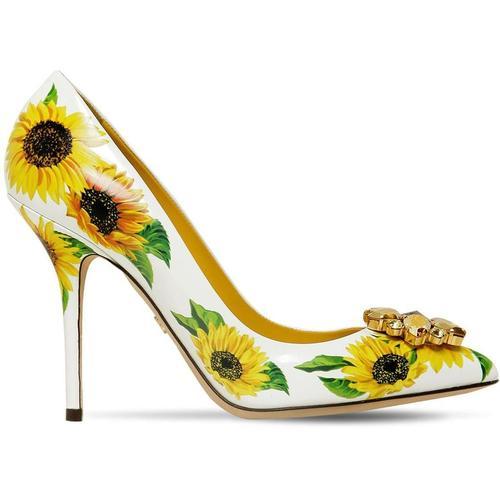 Dolce & Gabbana Pumps Aus Kalbsleder Sonnenblumen-Print Mit Brosche