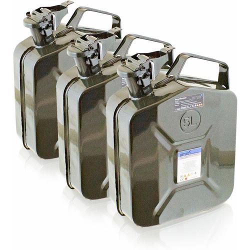 3x 5 Liter Stahl Benzinkanister Kraftstoffkanister Kanister UN Zulassung